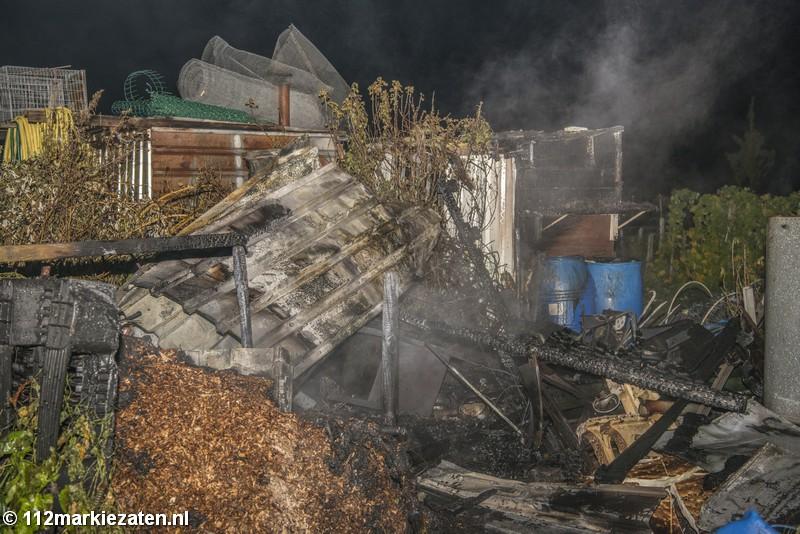 Schuurtje in brand op het volkstuinencomplex in Tholen