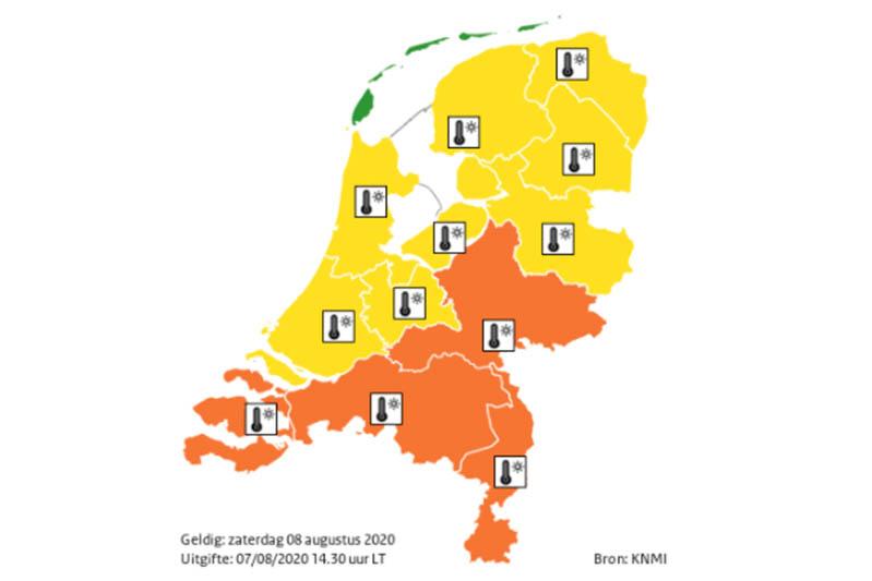 KNMI geeft code oranje af vanwege extreme hitte, Nationaal Hitteplan actief
