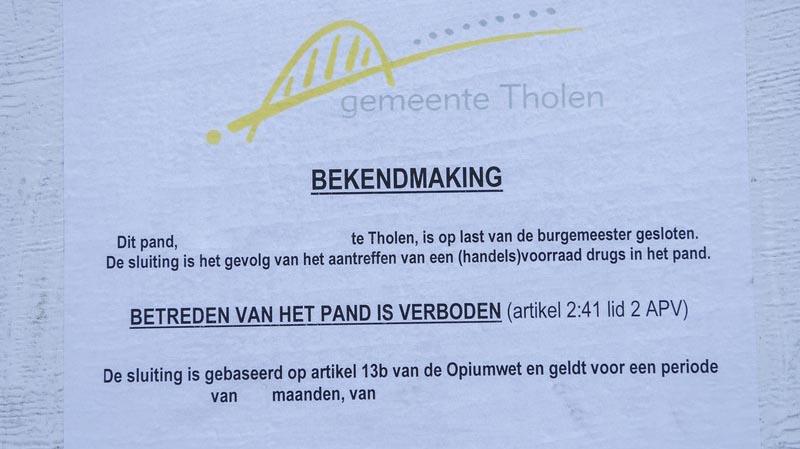 Gemeente Tholen sluit pand in Sint-Maartensdijk na vondst van hennepkwekerij